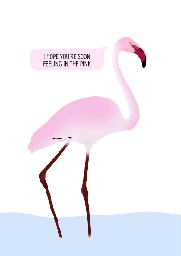 A pink flamingo ankle deep in water with a speech bubble and text 'I Hope You Are Soon Feeling In The Pink'