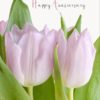 A bunch of pink tulips set against lush green leaves - Pink On Green - and text 'Happy Anniversary'