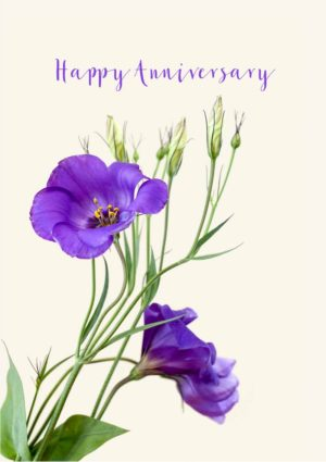 An anniversary card with a bunch of purple Lisianthus flowers set against a pale cream background and text 'Happy Anniversary'