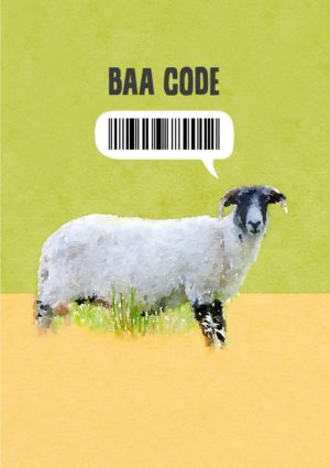 A sheep sideways on against a sand and green plain background and a bar code label above it and text 'Baa Code'
