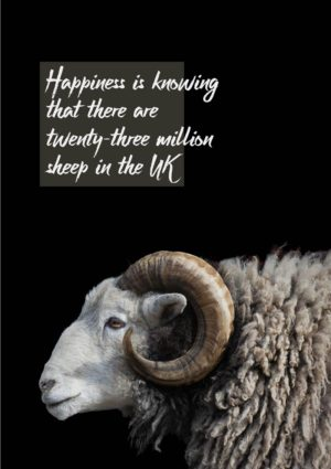 A Herdwick ram with a long fleece and curved horns viewed in profile and text that reads 'Happiness is knowing that there are twenty-tree million sheep in the UK'