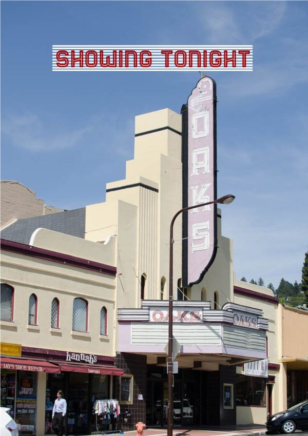 An old-fashioned movie theater (cinema) on a downtown street in Berkeley, California in the USA, with text 'Showing Tonight'