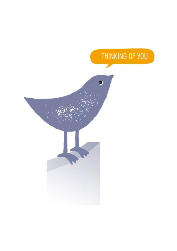 A small bird - the Birdy of the title - and a speech bubble with text 'Thinking Of You'