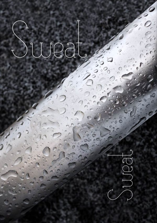 An inspiring greeting card featuring a light-coloured metal bar with droplets of water on it set against a granite background with text 'Sweat' repeated twice.