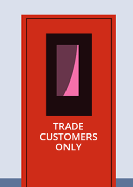 trade and consumer sales in e-commerce illustrated by a door with a curtain drawn across and a notice 'Trade Customers Only'