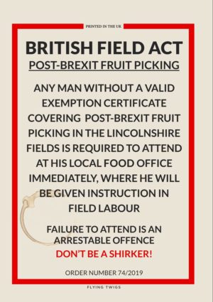 'Fields' Anti-Brexit Greeting Card featuring a mockup of a World War II Ministry Of Information poster concerning field labour.
