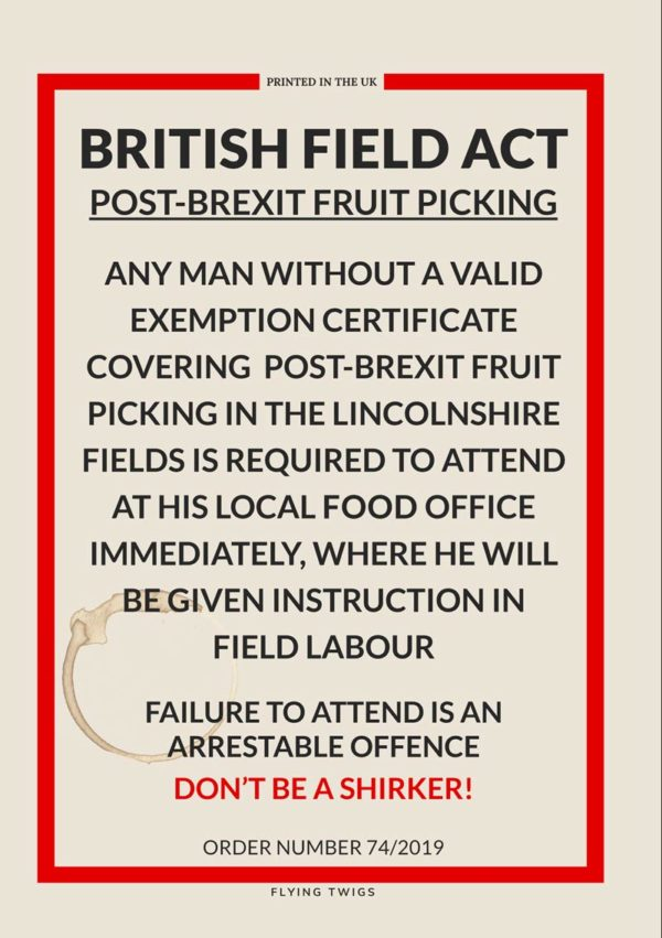 Fields is an anti-Brexit Greeting Card featuring a mockup of a World War II Ministry Of Information poster concerning field labour.