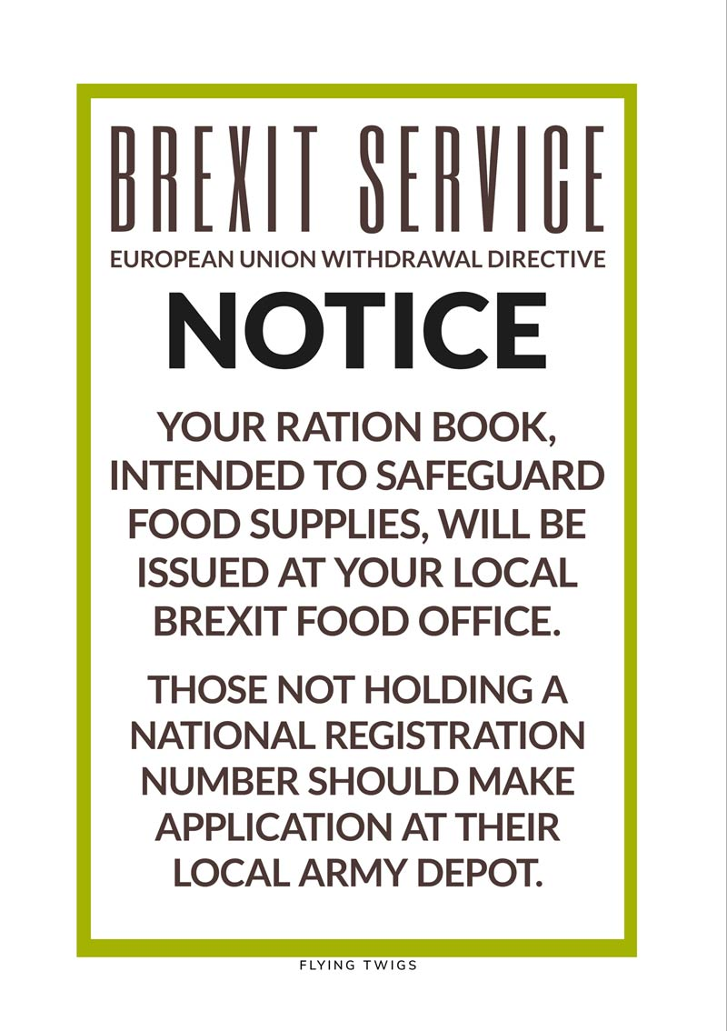 A Card To Support No Brexit Wartime Information Leaflet About Food