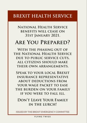 Health is a satirical anti-Brexit greeting card, in the style of a wartime information leaflet about the end of nationalised health and the need to make provision oneself for one's family.
