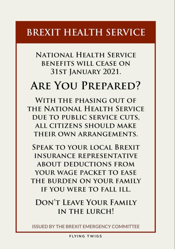 'Health' Anti-Brexit Greeting Card - National Health Service benefits will cease on 31st January 2021.