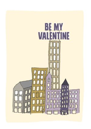 Sky One Valentine's Day Card with skyscrapers and giant letters proclaiming Happy Valentine's Day