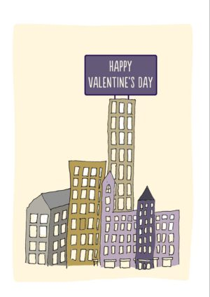 Sky Two Valentine's Day Card with skyscrapers and giant billboard proclaiming Happy Valentine's Day