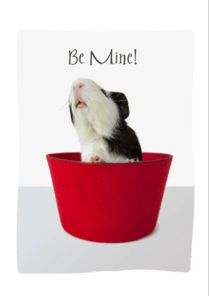 Be Mine Valentine's Day Card with a guinea pig in a fez and text Be Mine