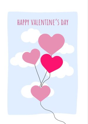 Clouds Valentine's Day Card with pink and red balloons and clouds and text Happy Valentine's Day