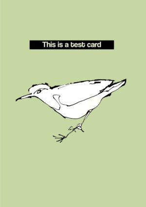 Test card with a white bird against a plain green background