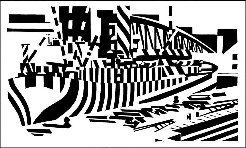 Dazzle camouflage woodcut of a ship in dry dock, by Edward Wadsworth
