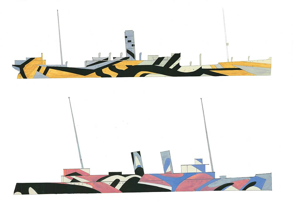 dazzle camouflage - two early designs for ships for deployment in the First World War
