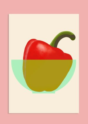 A poster with a graphic design illustration of a red pepper with green stalk in a pale green bowl set against a light pink background