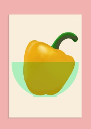 A poster with a graphic design illustration of a yellow pepper with green stalk in a pale green bowl set against a light pink background