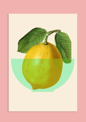 A poster with a graphic design illustration of a yellow lemon with green leaves in a pale green bowl set against a light pink background.