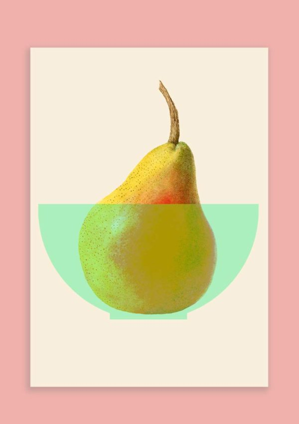 A poster with a graphic design illustration of a yellow pear with stalk in a pale green bowl set against a light pink background.