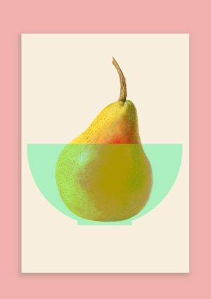 This framed pear print shows an illustration of a pear in a green bowl set against a cream background, itself set against a light pink background.