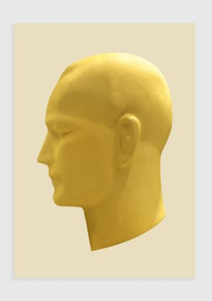 Thinking Head poster - A head in profile, thinking thoughts not unlike our own. If he is meditating, then he is at peace with what is, comfortable and not needing or wanting to be elsewhere.