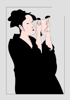 Letter poster - A woman in profile, reading a letter, based on apainting by Utamaro Kitagawa (1753-1806) changed to black and flesh-coloured to emphasise its graphic qualities.