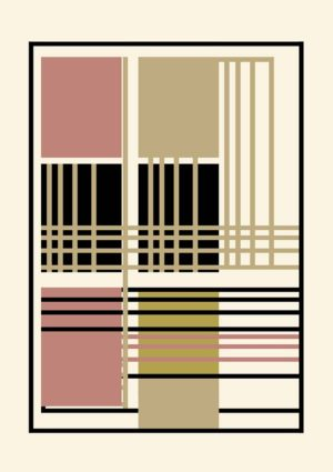 Geometric poster - an abstract regular design in a muted palette of cream, gold, russet, and black.