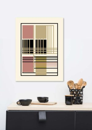 Geometric poster - an abstract regular design in a muted palette of cream, gold, russet, and black shown on a wall in a mockup