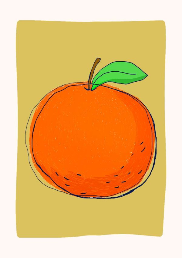 A poster with an illustration of an orange against a green background