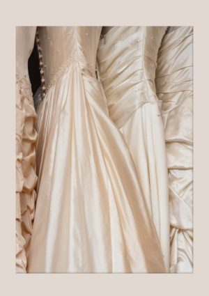 Wedding Dresses poster featuring a line of wedding gowns