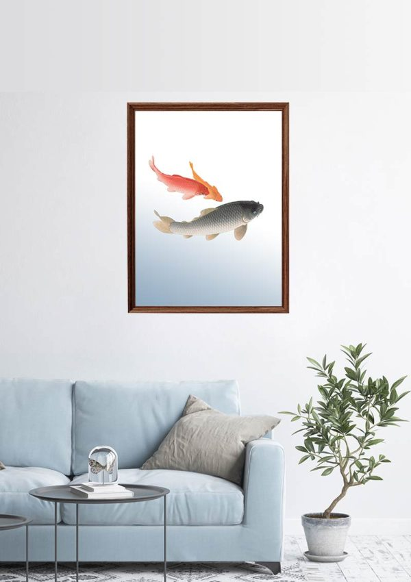 Fish Swimming Poster mockup showing it mounted on a wall in a living room with a sofa