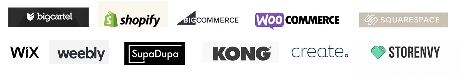 Composite image of the logos of online SAAS standalone stores to illustrate what is the best platform on which to sell online when you are just starting